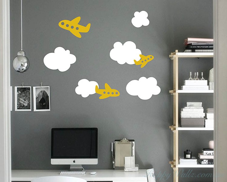 Airplanes Clouds  Nursery Sticker
