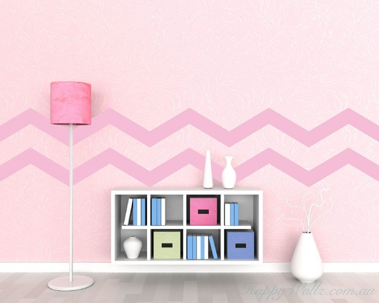 as shown in photo Chevron Pattern Wall Decals Set of 10 Vinyl Sticker Art
