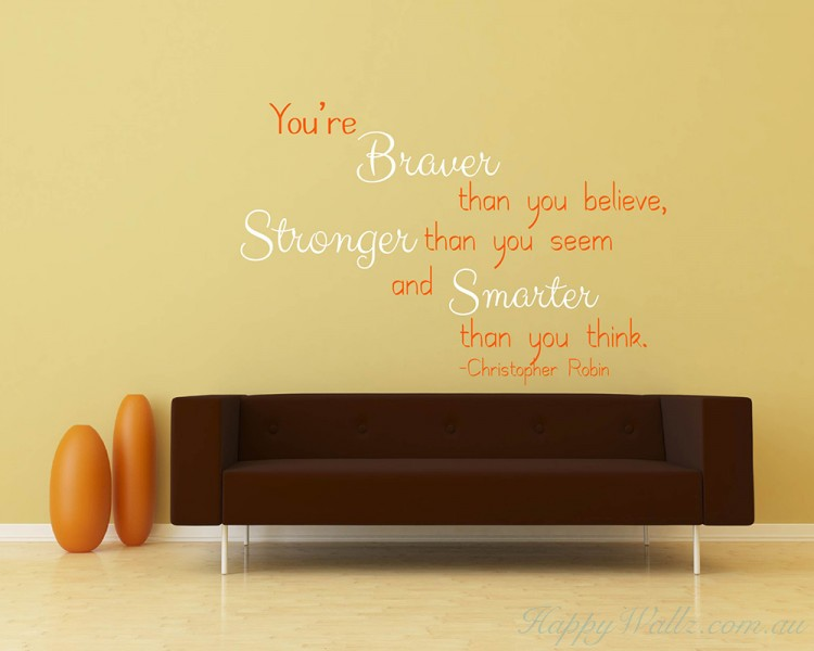 You Are Braver Quotes Wall Art Stickers
