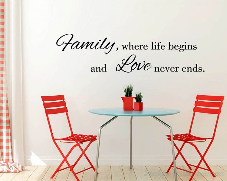 Family Where Life Begins  sc 1 st  HappyWallz & Family Where Life Begins Quotes Wall Art Stickers