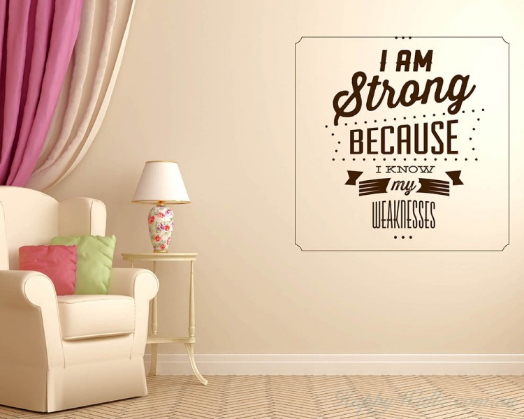 I Am Strong Quotes. I Am Strong Quotes Wall Art Stickers