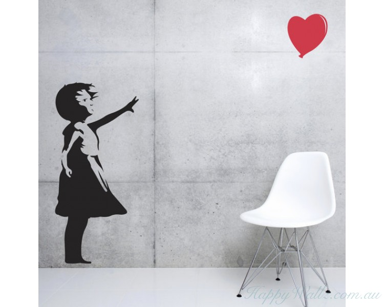 Banksy Girl Balloon  Silhouette Wall Art Sticker