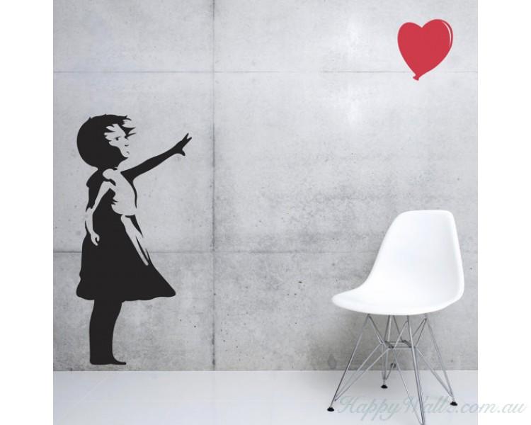 banksy girl balloon silhouette wall art sticker