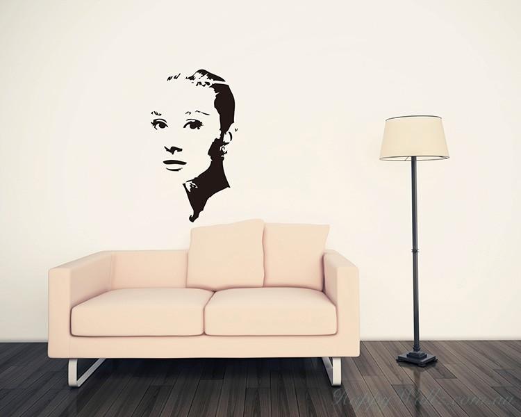 audrey hepburn silhouette modern wall art sticker