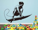 Surfing Boy  Silhouette Modern Wall Art Sticker
