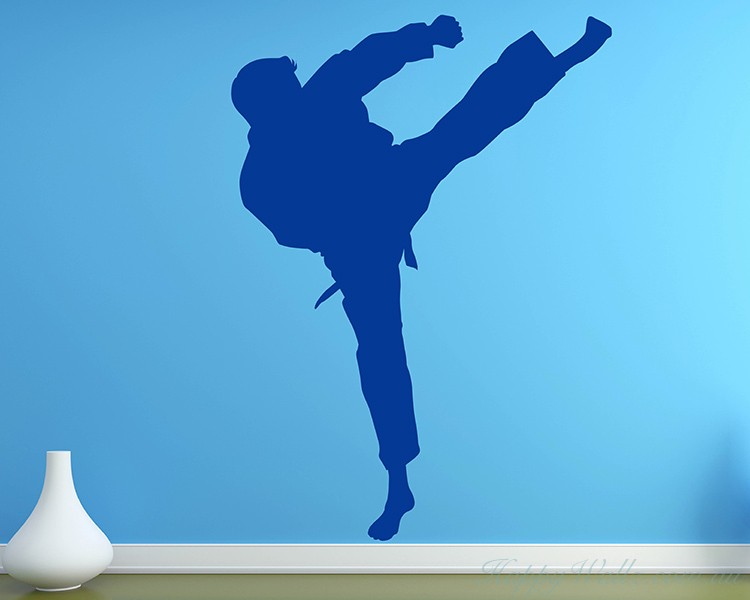 Chinese Kung Fu  Silhouette Modern Wall Art Sticker