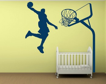 Exceptional Dunking Boy Silhouette Modern Wall Art Sticker