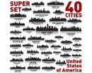 City of USA  Silhouette Modern Wall Art Sticker