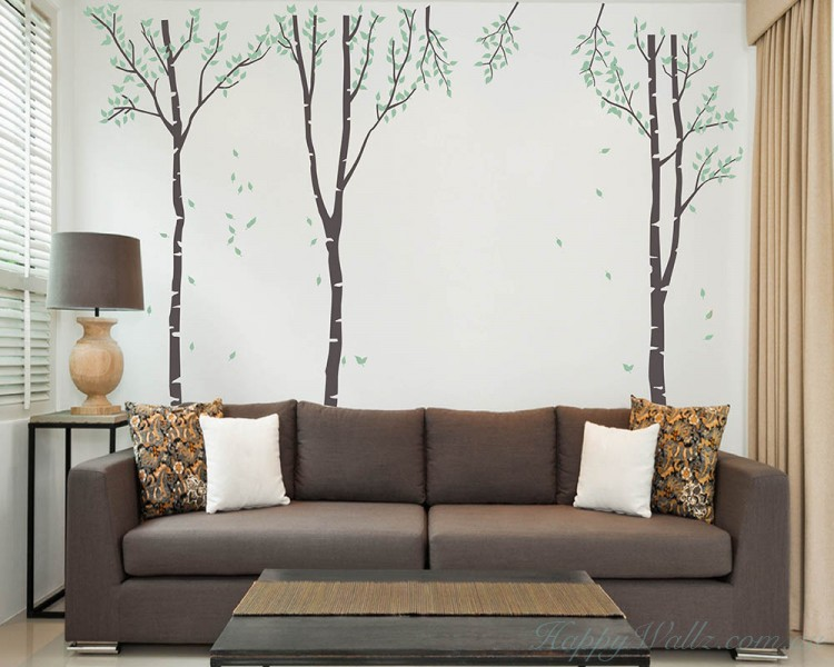 Large Birch Tree Wall Decal - Set of 3