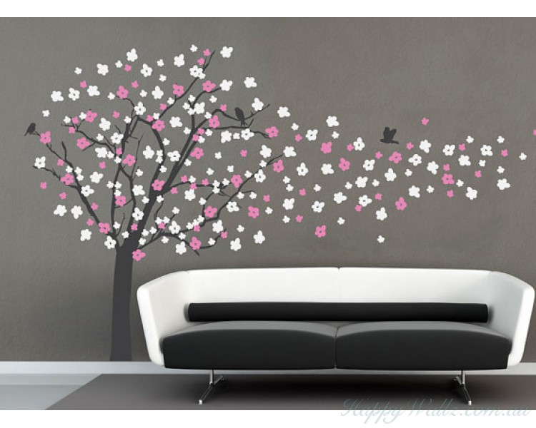 Cherry Blossom Tree Wall Decal With Birds Part 56