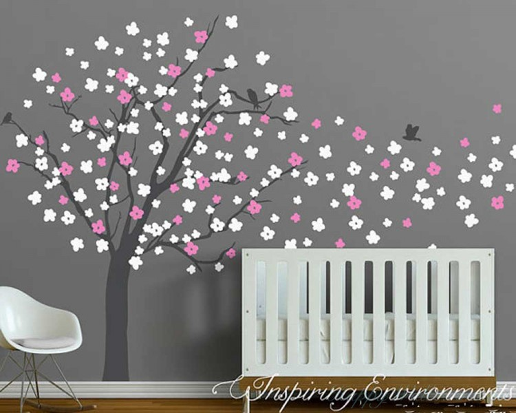 Cherry Blossom Tree Wall Decal with Birds