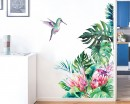 Beach Palm Leaves Wall Sticker Green Plant Flower Bird Modern Art Stickers