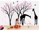 Giraffe Trees Wall Decal