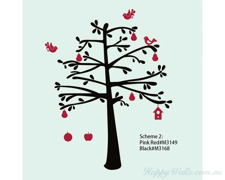 tree with fruit shelf art stickers