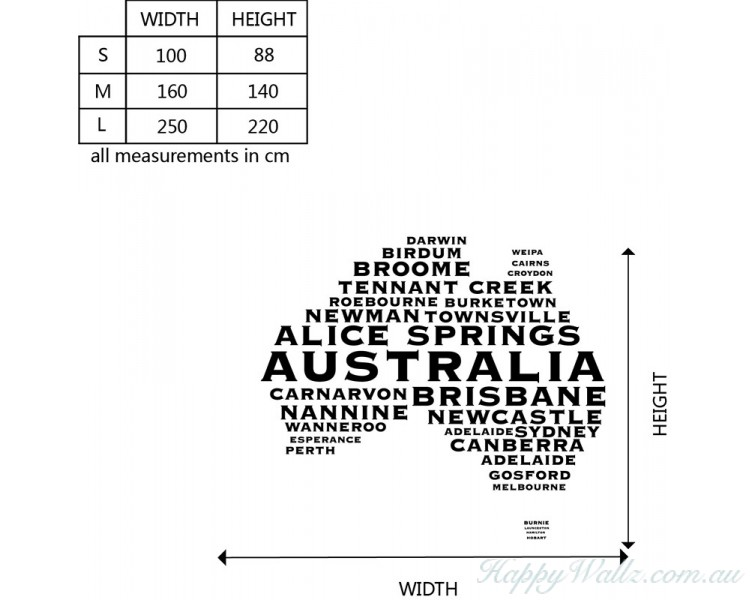 australian map city names modern wall stickers name wall decal australia cute elephant wall sticker