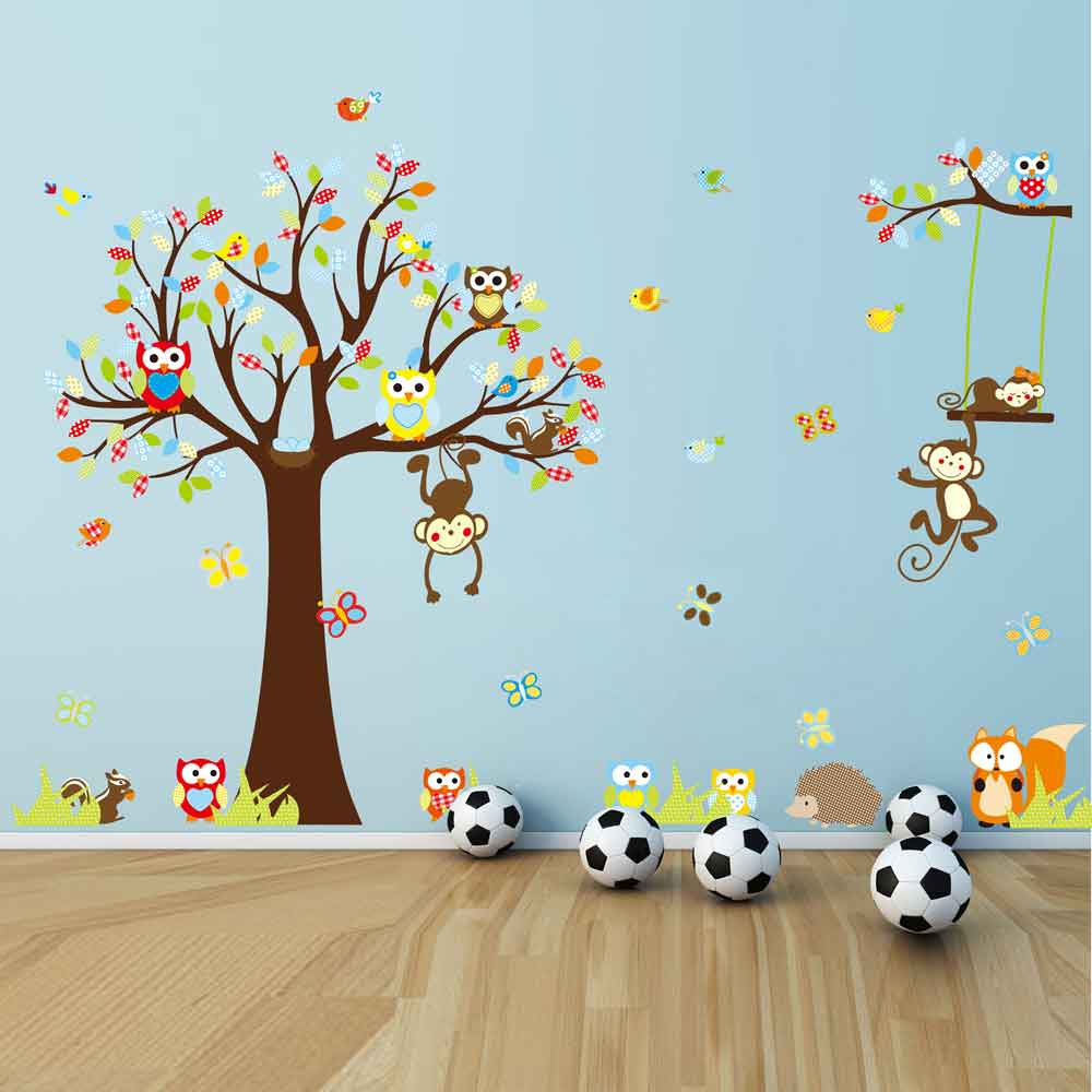 Wall stickers australia nursery kids wall decalsremovable vinyl tree zoo wall sticker for nursery squirrel foxowls monkey wall decal amipublicfo Images
