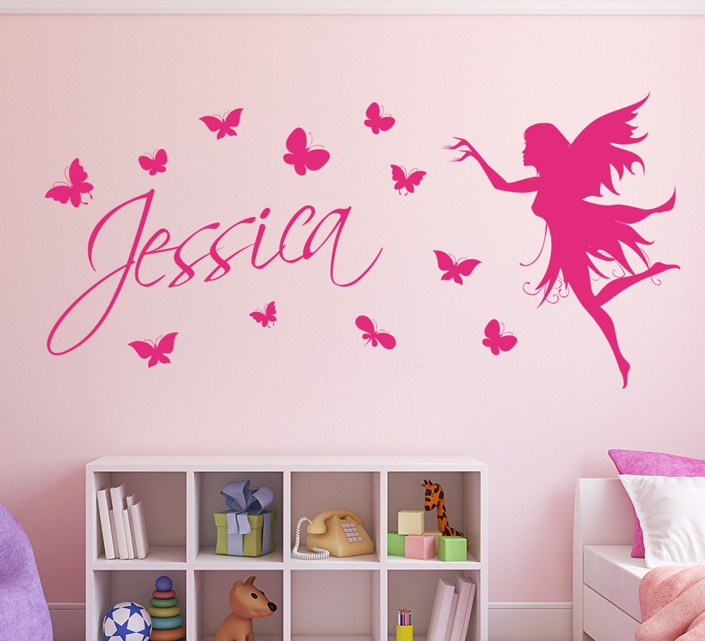 Wall stickers australia nursery kids wall decalsremovable vinyl personalised name with butterflies and fairy amipublicfo Images