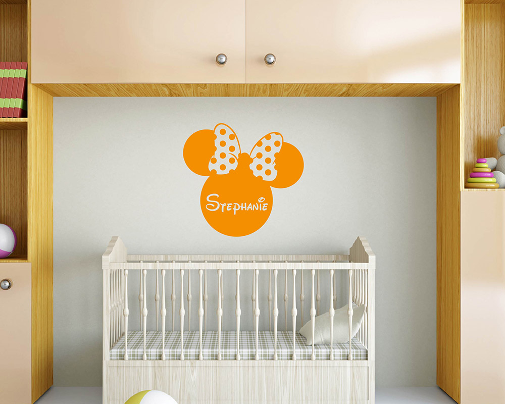 personalised wall decals quotes custom your own family initial personalised baby name minnie mouse head ears