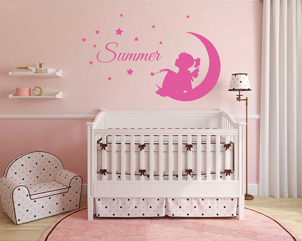 Custom Girl Name, Fairy On Moon, Stars And Bird, Nursery Bedroom Wall Decor