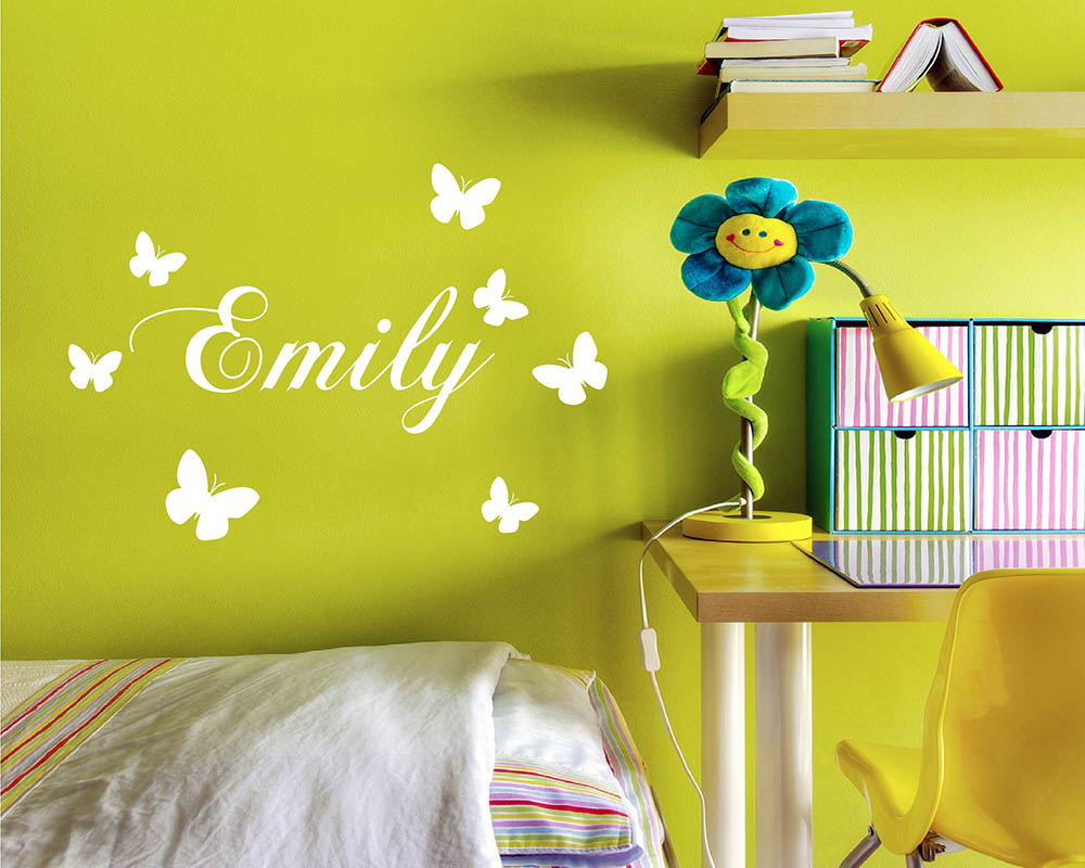 personalised wall decals quotes custom your own family initial butterflies customised name decal