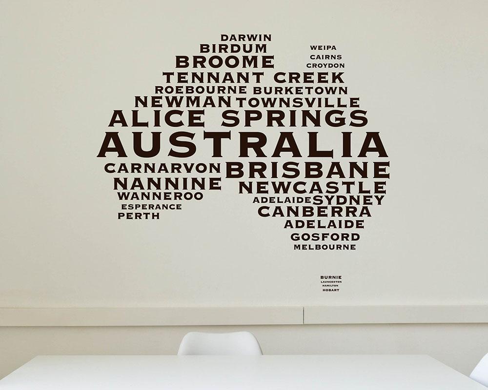 Australian map city names modern wall stickers amipublicfo Choice Image