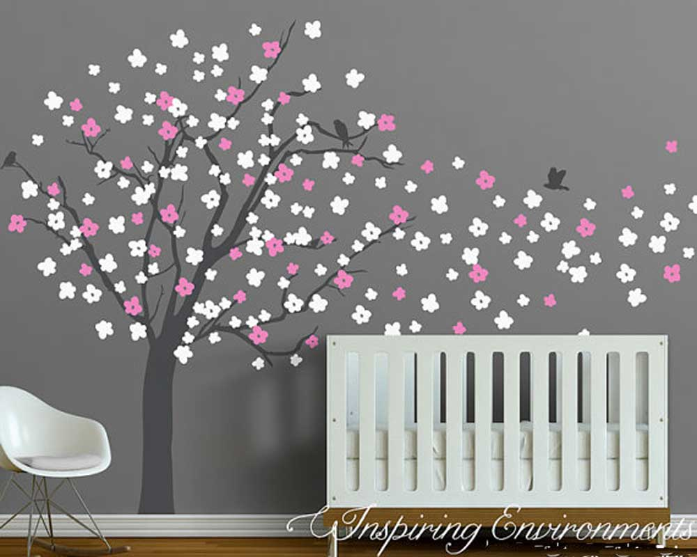 Cherry blossom tree wall decal with birds amipublicfo Image collections