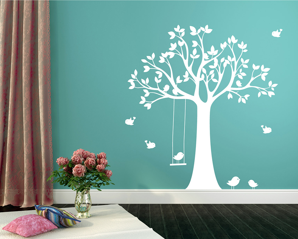 Tree Wall Stickers Large Birch Tree Bamboo Nursery Branch Birds
