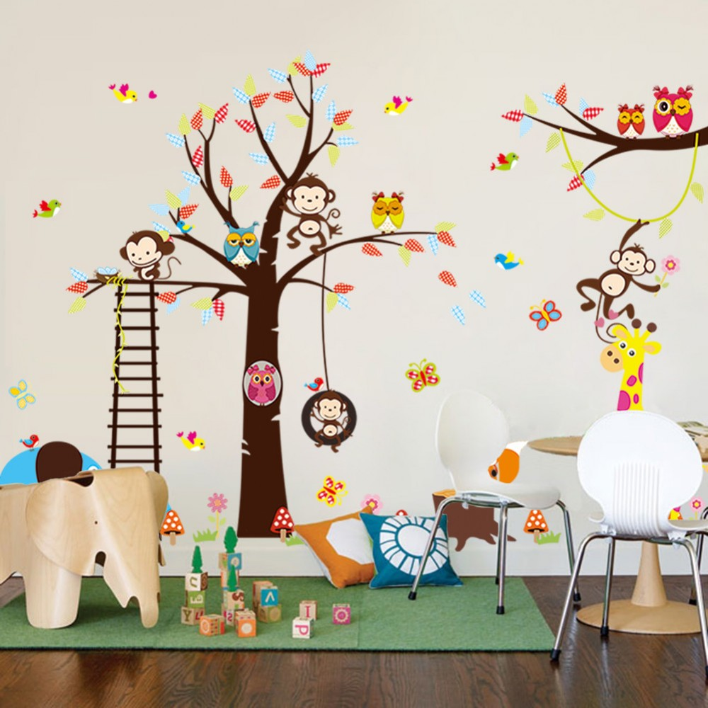 Tree Wall Sticker With Squirrel, Fox, Mushroom, Owls, Monkey, Birds, Part 22